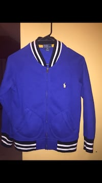 black, white, and blue Polo by Ralph Lauren zip-up letterman jacket