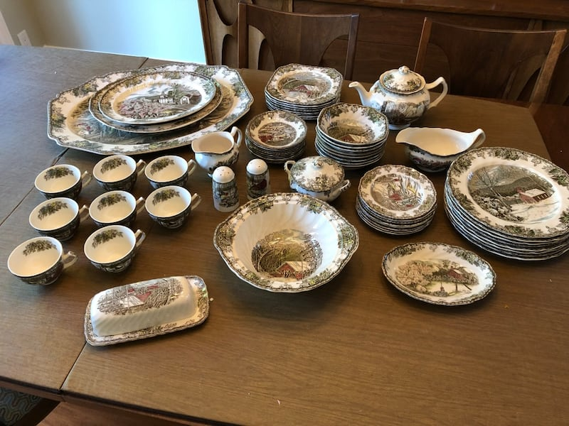 Sold The Friendly Village China Dinnerware Set For 8 In Upland Letgo
