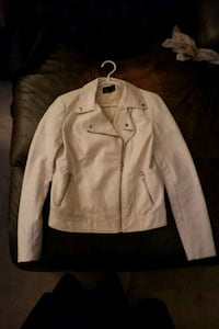 white leather zip-up jacket Calgary, T3A 2Z2