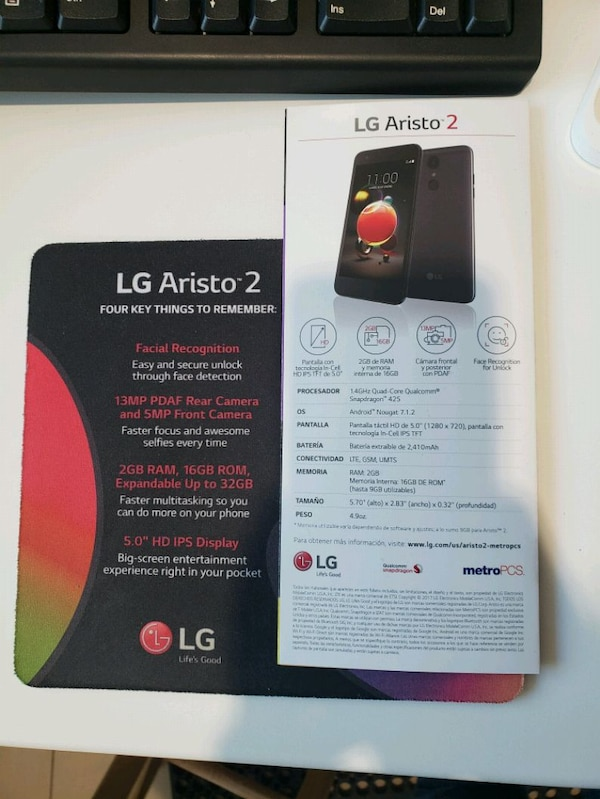 Free Lg Aristo 2! Facial Recognition, etc