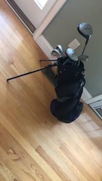 black and gray golf bag with golf club set East Setauket, 11733