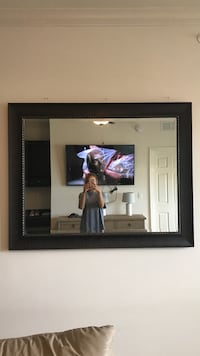 square black wooden frame wall mirror