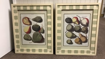 Pear Prints in hand painted glass frames
