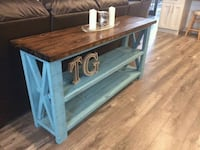brown and blue wooden side table Vancouver, V5Y