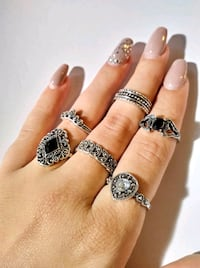 Silver Bohemian Stackable Ring Set - Trendy Boho Rings Cute Fashion