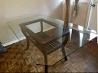 rectangular brown wooden framed glass top table Toronto, M2R 1Z9