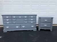 Solid Wood Long Dresser With Nightstand Gray With White Handles  Woodbridge, 22192