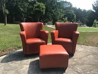 Orange Leather chairs and footstools St Thomas, N5P 2C2