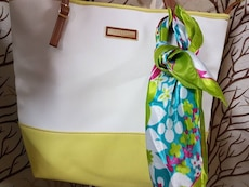 white and yellow tote bag