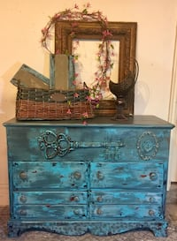 blue and brown wooden dresser Oklahoma City, 73012