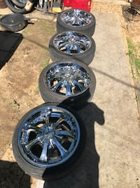 """20"""" DUB Rims with tires.  Pacific, 63069"""