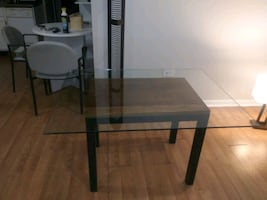 Glass top desk/dining table. 34 x 46.