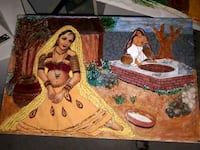 Hand made Indian women jhadoka painting  Cambridge
