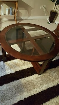 round brown wooden framed glass top table Ajax, L1Z 1K3