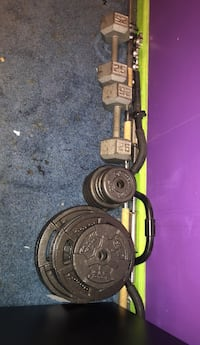 130 + two 25 pound dumbbells and three bars (25 pound, 10 pound, two 2 pounds bars) Bensville, 20603