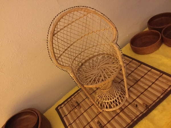 Superb Vtg Wicker Peacock Rattan Chair Petite Fan Back Doll Bear Plant Etc Display Table Shelf Decor Mid Century Modern Gmtry Best Dining Table And Chair Ideas Images Gmtryco