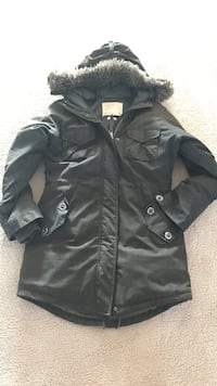 Army Green zip-up hooded winter jacket...from Aritzia