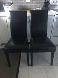 Dark Brown Leather Dining Chair