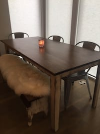 Handmade wood farmhouse style dining table, bench and chairs Washington, 20011