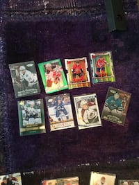 eight american football trading cards