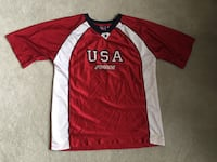 Red and white USA Mens soccer jersey Lower Oxford, 19352