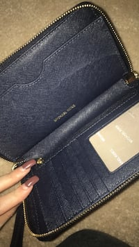black leather Michael Kors wristlet Fairfax