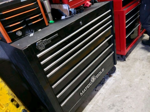 black and red tool chest