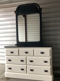 Solid Wood Long Dresser With Mirror White With Black Top  Woodbridge, 22192