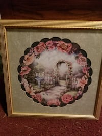 white and red floral painting with brown wooden frame Dundalk