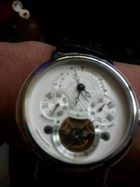 round silver-colored chronograph watch with black leather strap San Jose, 95136