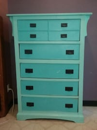 white and teal wooden tallboy dresser Sedona, 86336