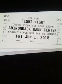 UfC fight ticket forsale (good seat )  Utica