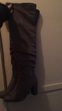 Over the knee grey suede boots size 8