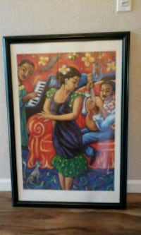 Woman in blue dress painting with black wooden fra Newark, 94560
