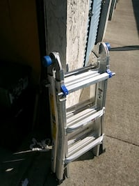 gray and blue Werner folding ladder Chico, 95926