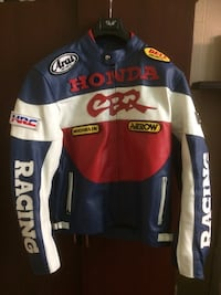 White-red-and-blue honda cbr leather hrc zip racing jacket