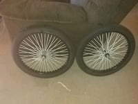 two chrome multi-spoke bicycle wheels with tires London, N5V 2B8