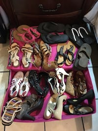 15 pairs of sandals open and close heels, a pair of adidas sneakers Los Angeles, 90044