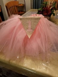 First birthday party baby pink tutu High chair.