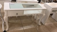 Brand new wooden and class top nail manicure table station.