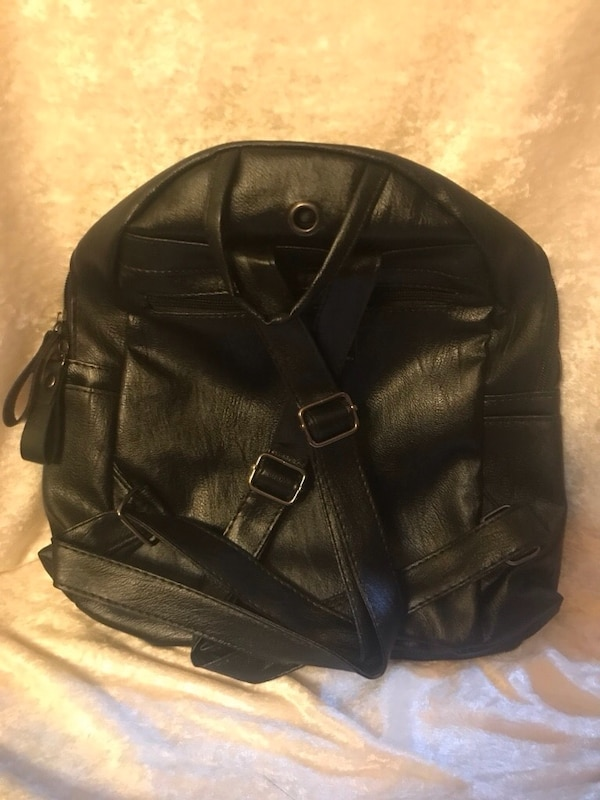 601f59c19a9 Soft Beautiful Black PU Leather Backpack Handbag Medium size