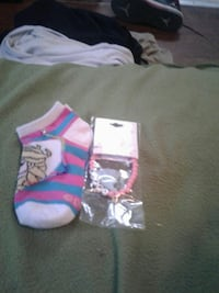 pink-and-blue stripe ankle socks