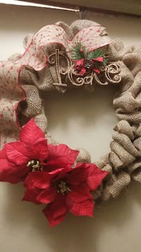 brown, red, and green mesh wreath with poinsettia accent Niagara Falls, L2H 1L6