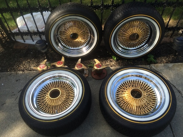 Used Tires Dayton Ohio >> Gold And Chrome 100 Spoke Dayton Wire Rims With New 15 Vogue Tires 15 By 8 Located In Defiance Oh Please Call Tl Hidden Price Is Negotiable
