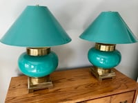 Two teal and brass table lamps Frederick, 21701