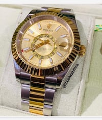 round gold-colored Rolex analog watch with link bracelet Enfield, EN1 2TB