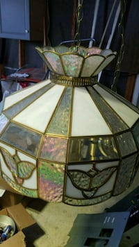 brown and white stained glass pendant lamp