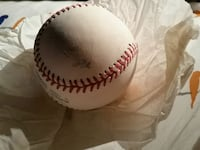 white and red baseball with signature Bangor, 18013