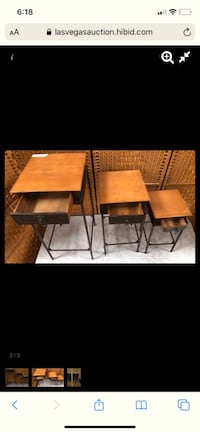Set of three wood small accent tables