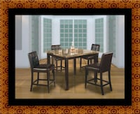 Marble tall table with 4 leather chairs Laurel